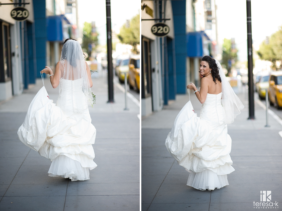 First look wedding pictures in downtown Sacramento