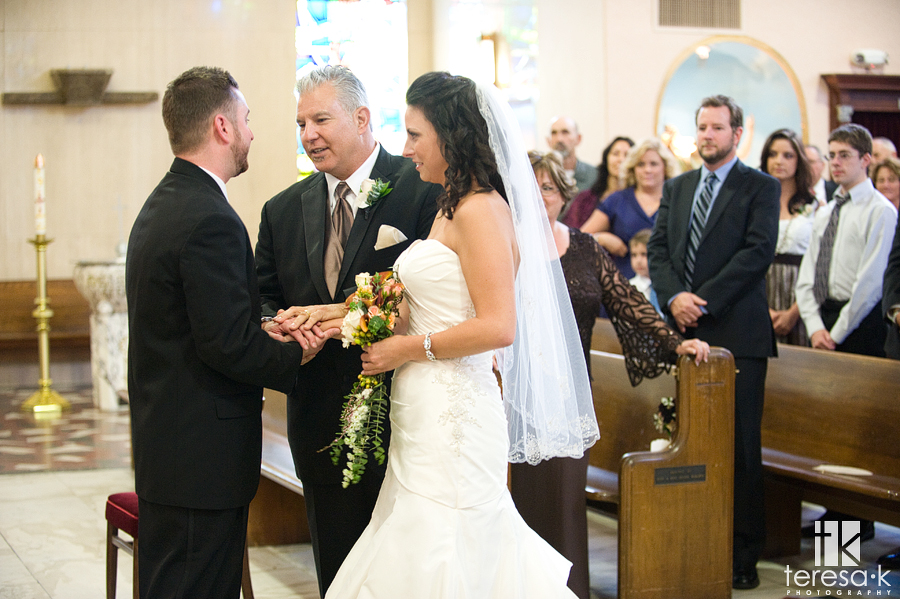 Bride walks down the aisle at St. Mary's church
