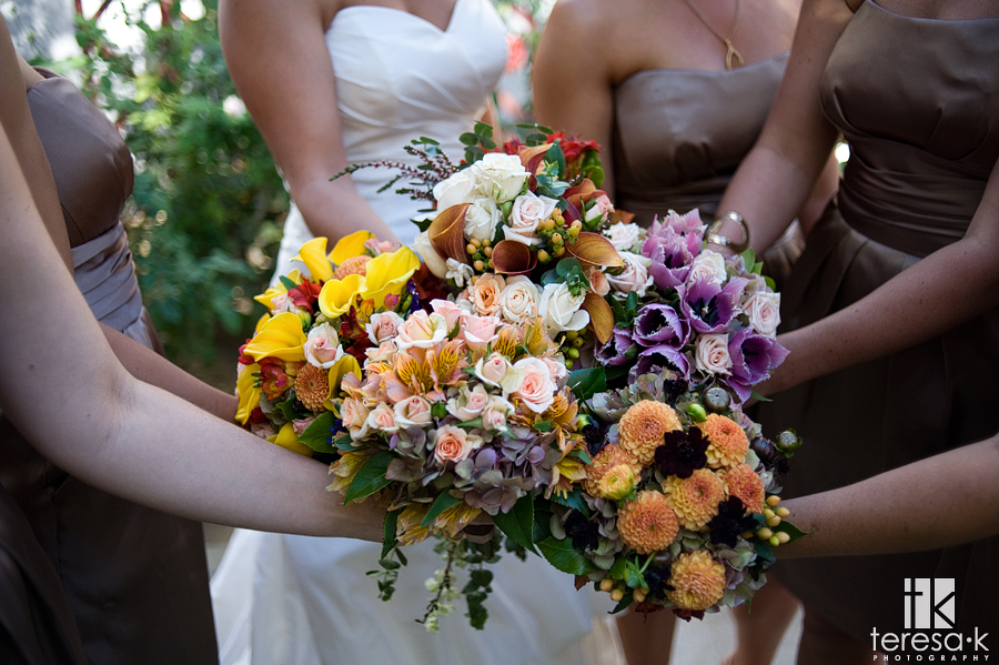 Beautiful wedding bouquets in Sacramento, California at St. Mary's Church