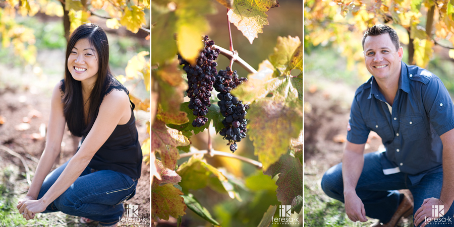 Fall engagement images in the vineyards of Apple Hill California