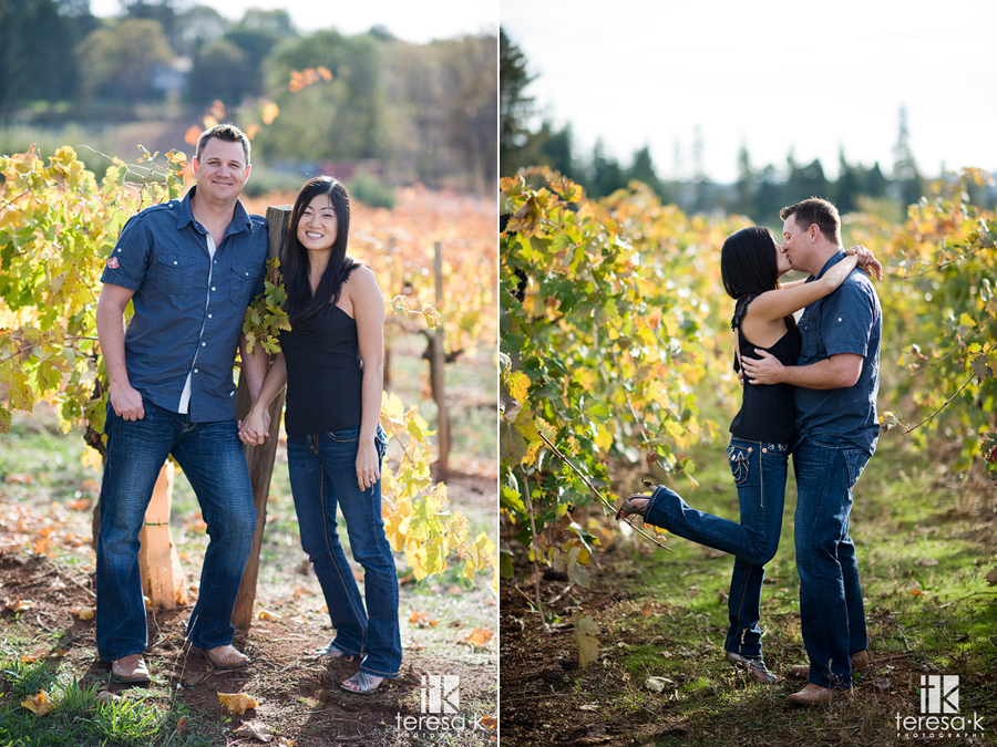 Fall engagement session in the foothill vineyards of Northern California