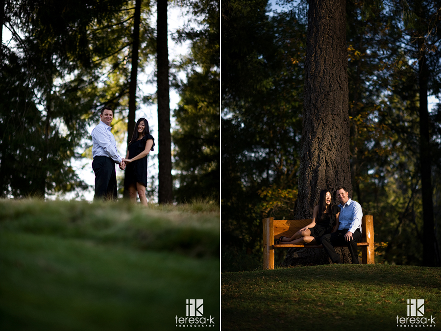 engagement image at the 10th hole of Apple Mountain golf resort in Placerville, California
