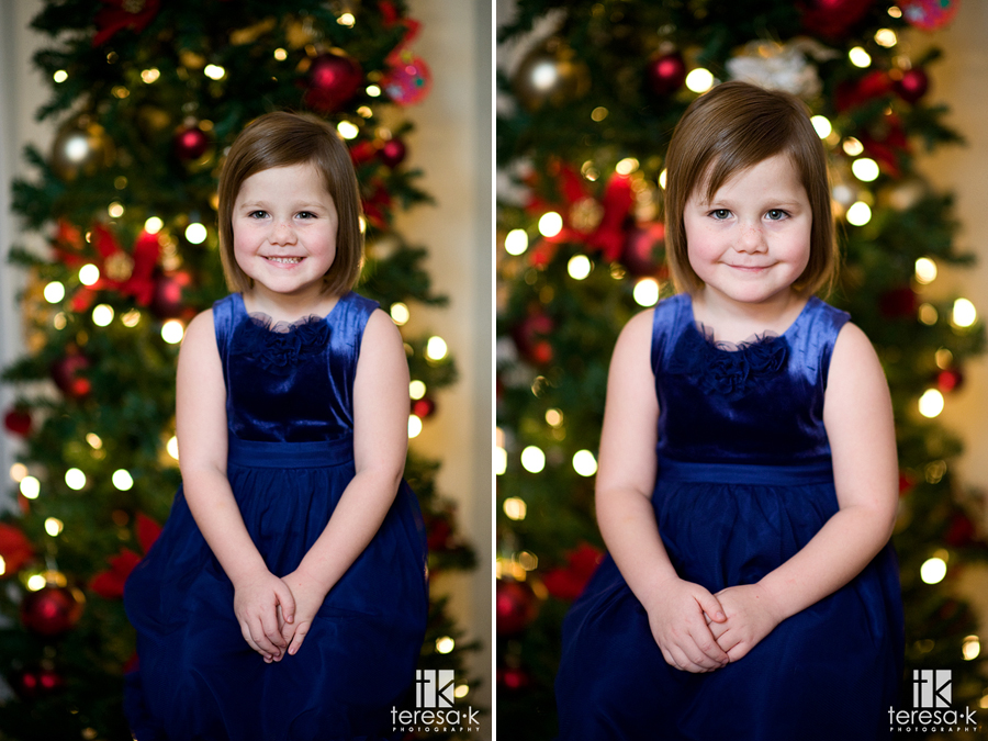 Traditional Christmas portraits in front of the Christmas tree