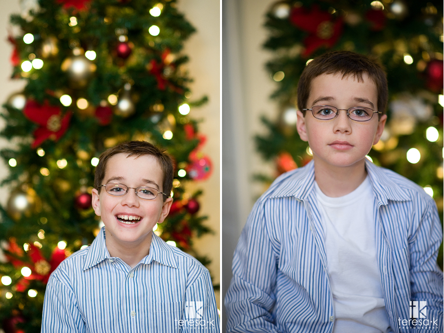 Traditional Holiday portraits in front of the Christmas tree