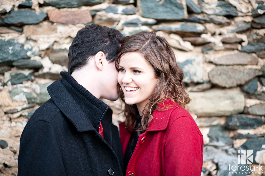 winter engagement session in Amador county