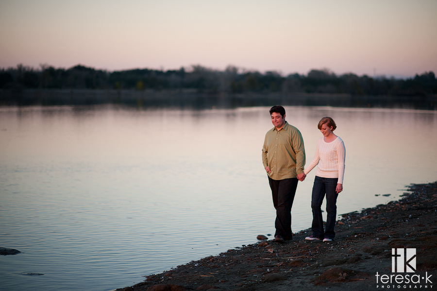 engagement session at the Lake Natoma CSUS Aquatic Center by Folsom wedding photographer, Teresa K photography