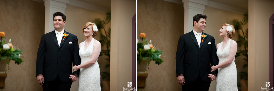 couple smiling at each other after they just got married