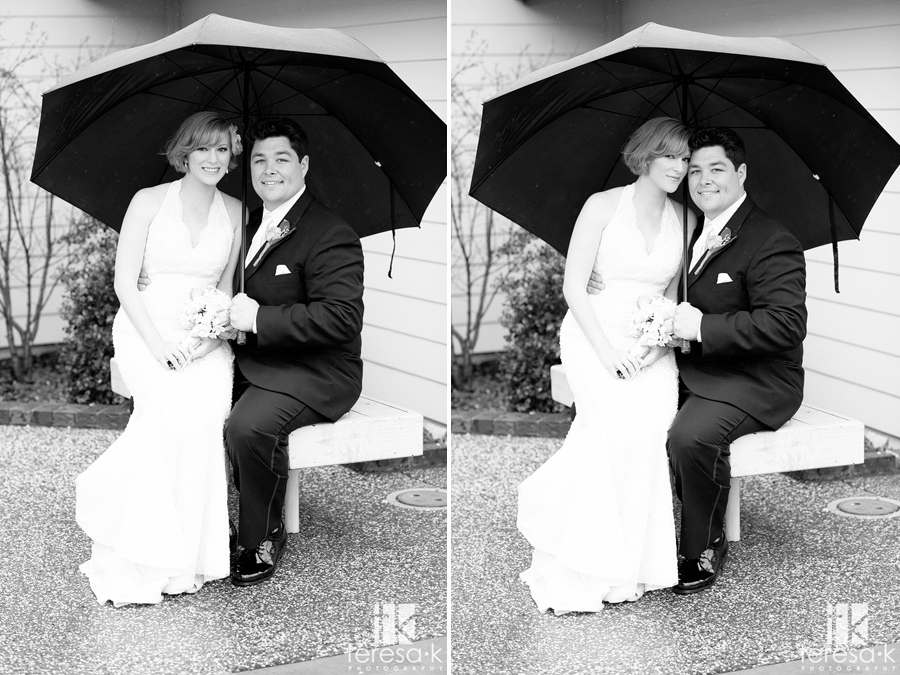 black and white rainy day bride and groom portraits in Lincoln, ca