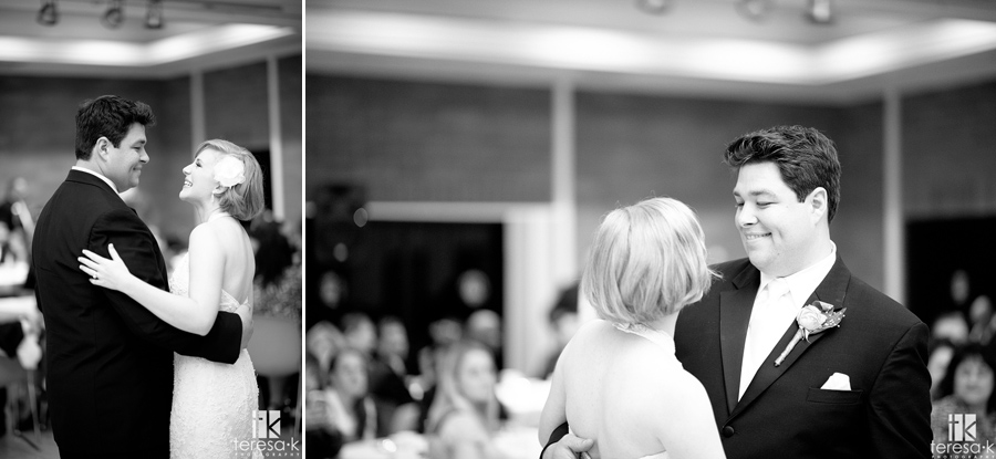 black and white bride and groom dancing in open reception area