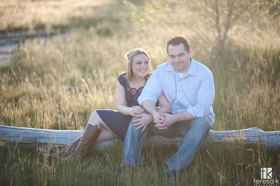 warm light afternoon engagement session at Folsom Lake