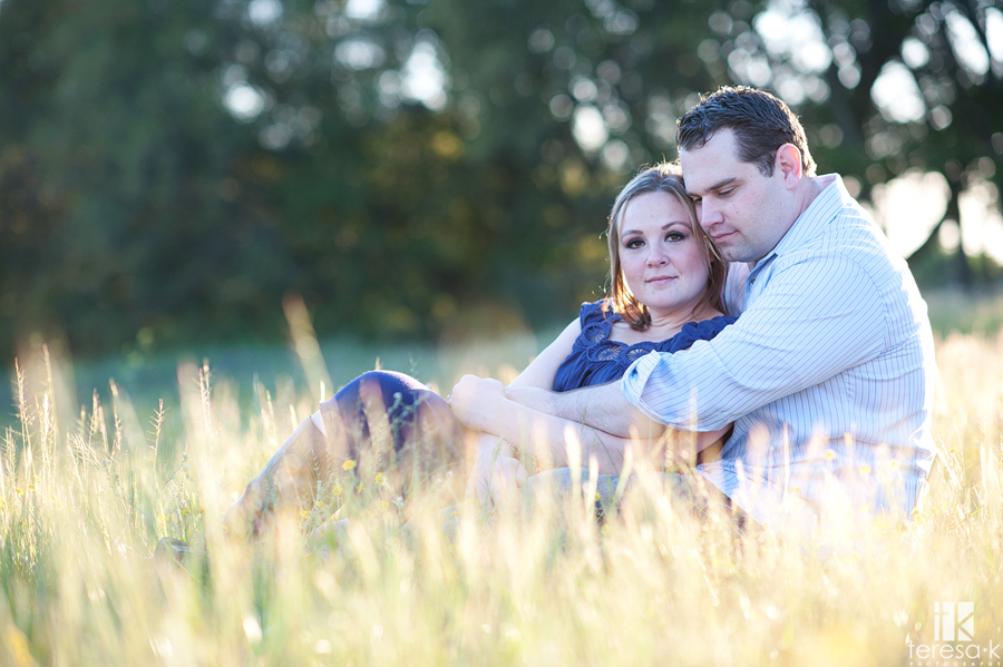 warm backlit engagement photos in Folsom