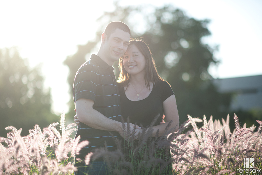 beautifully backlit image taken in west Sacramento for an engagement session