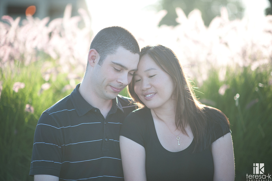 couple reflecting in beautiful light about their pending marriage