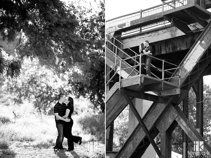 engagement session under the train tracks in west Sacramento California