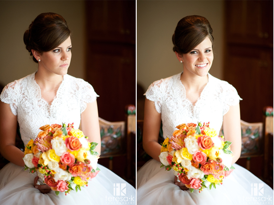 window light portrait of Sacramento catholic bride