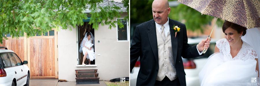 bride's dad escorting her to car on rainy Sacramento wedding day