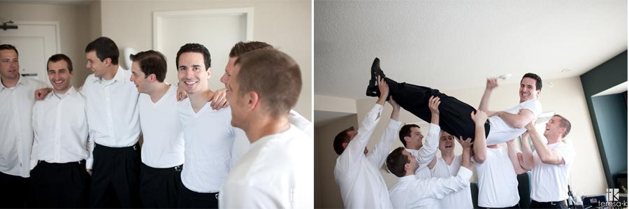 groomsmen getting ready at the Sacramento Sheraton grand Sacramento