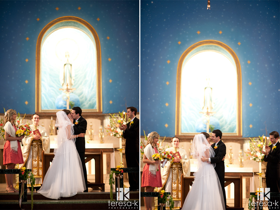 the alter kiss at a catholic ceremony