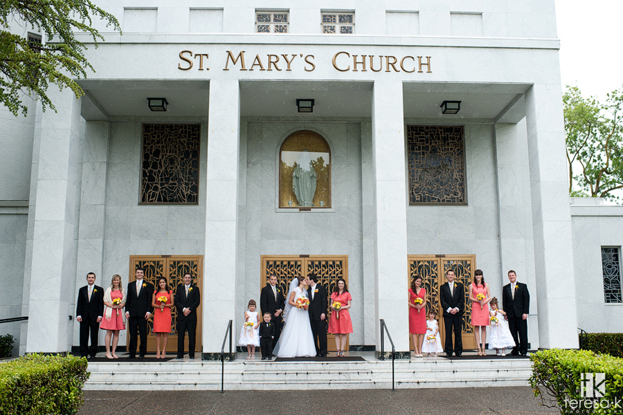bridal party image in front of St. Mary's Church