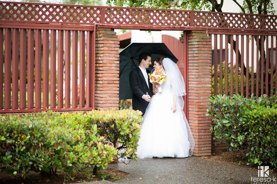 beautiful rainy day wedding day portrait