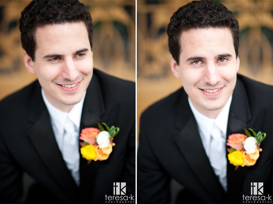 groom portraits in the rain in Sacramento