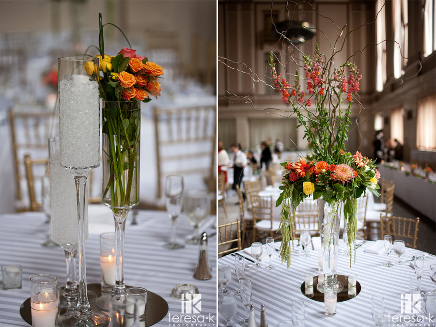 gorgeous flowers at table in the Sacramento grand ballroom