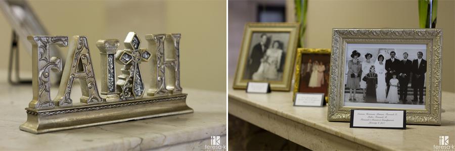 generational wedding images as decor at Sacramento wedding