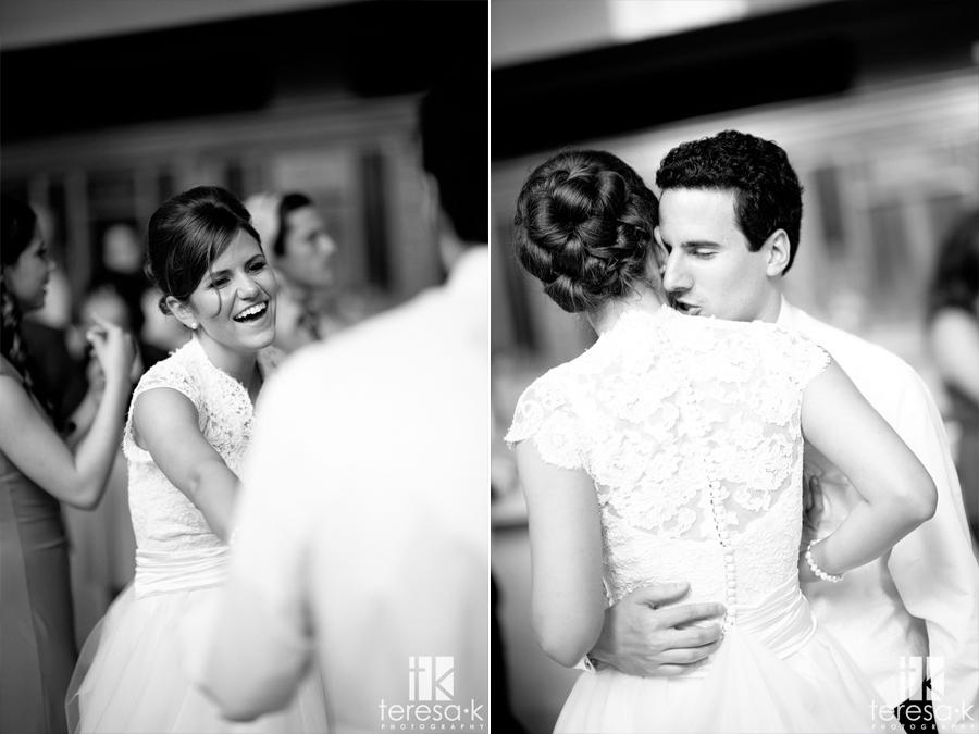 happy bride and groom in Sacramento