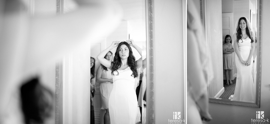 General's Garden Wedding at McClellan AFB, getting ready images, bride's dress