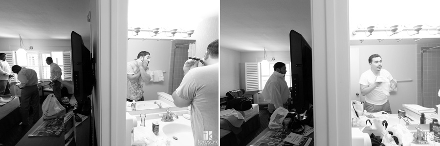 groomsmen getting ready at the Lions Gate hotel in North Highlands