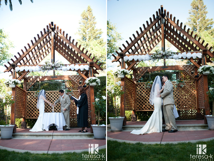 image of bride and groom in outdoor ceremony at McClellan AFB
