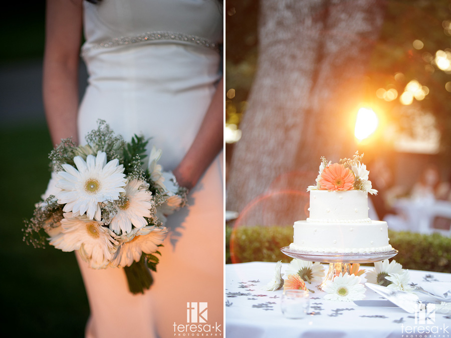 warm sunlit photos of the cake and the bouquet