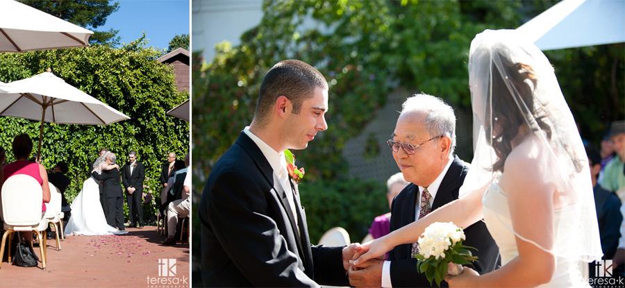 dad gives bride away at Sacramento wedding