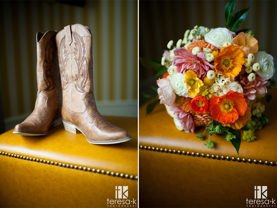 wedding cowgirl boots and colorful wedding flowers