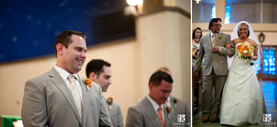 groom watched bride walk down the aisle for the first time
