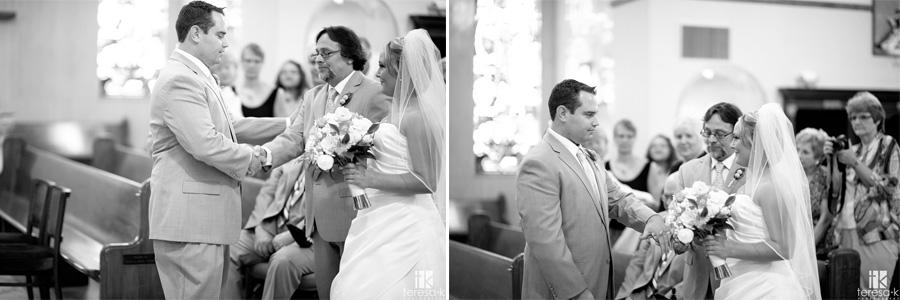 Dad gives bride away at saint Mary's church wedding