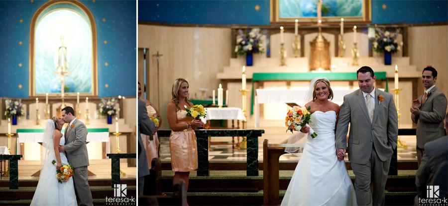 bride and groom at saint marys church