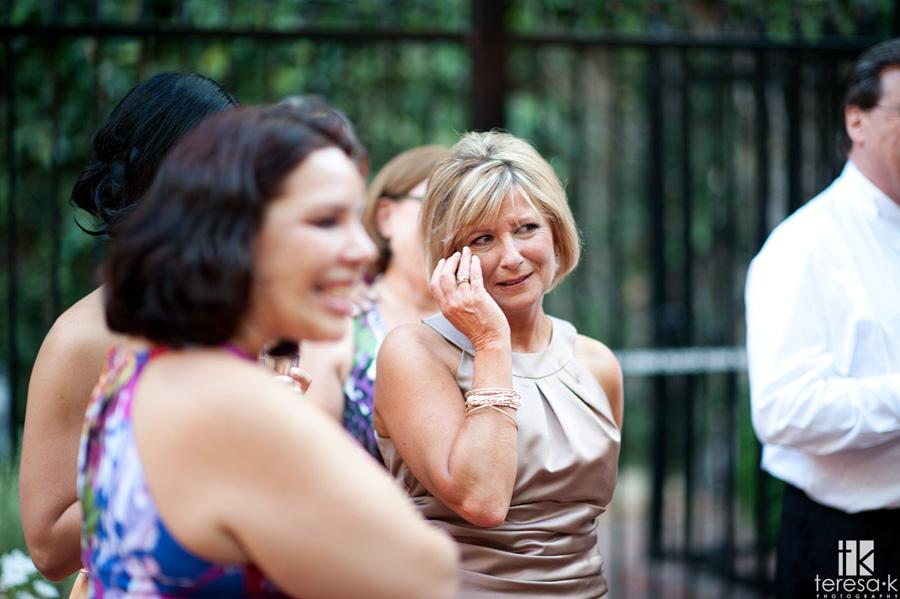 Mom gets emotional at Sacramento wedding reception