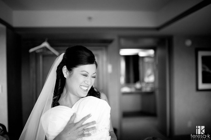 gorgeous bride getting ready for her lake Tahoe wedding