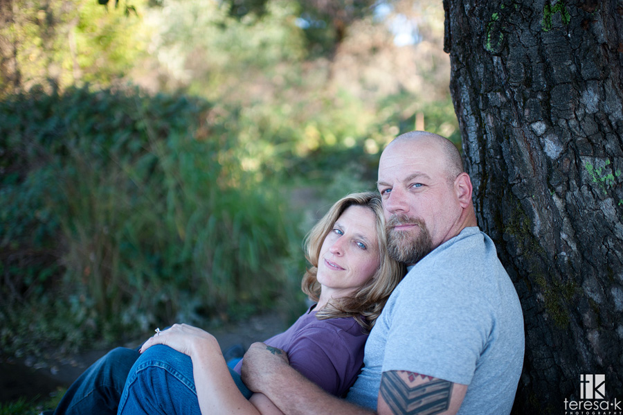biker couple engagement session in Folsom