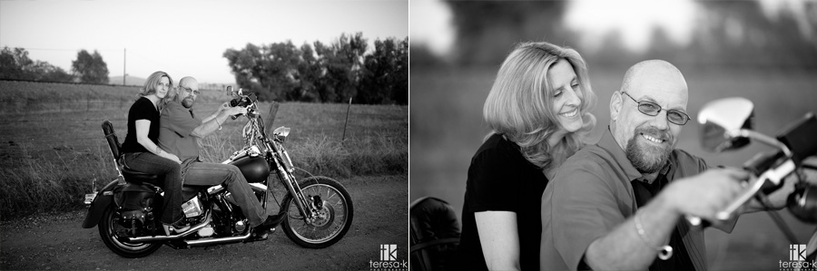 engagement session with a Harley Davidson