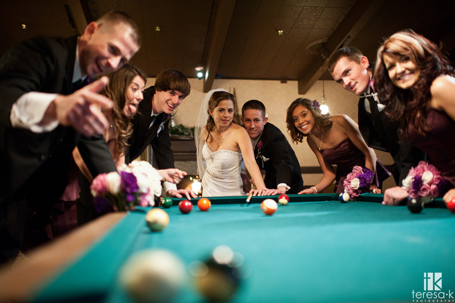 bridal party playing pool