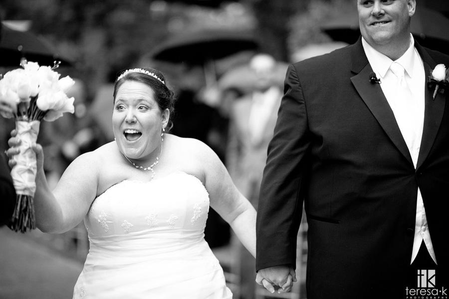 super excited bride after ceremony