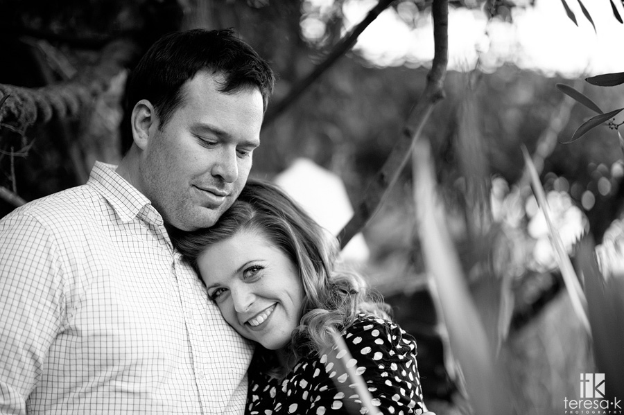 black and white engagement image from Oakland