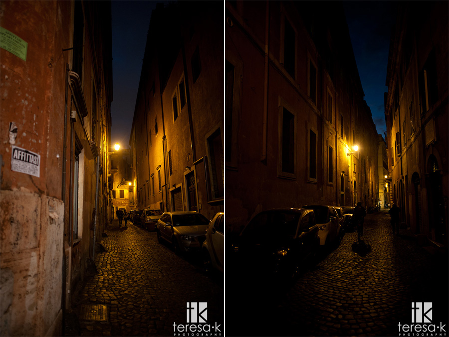 nighttime street view in Rome