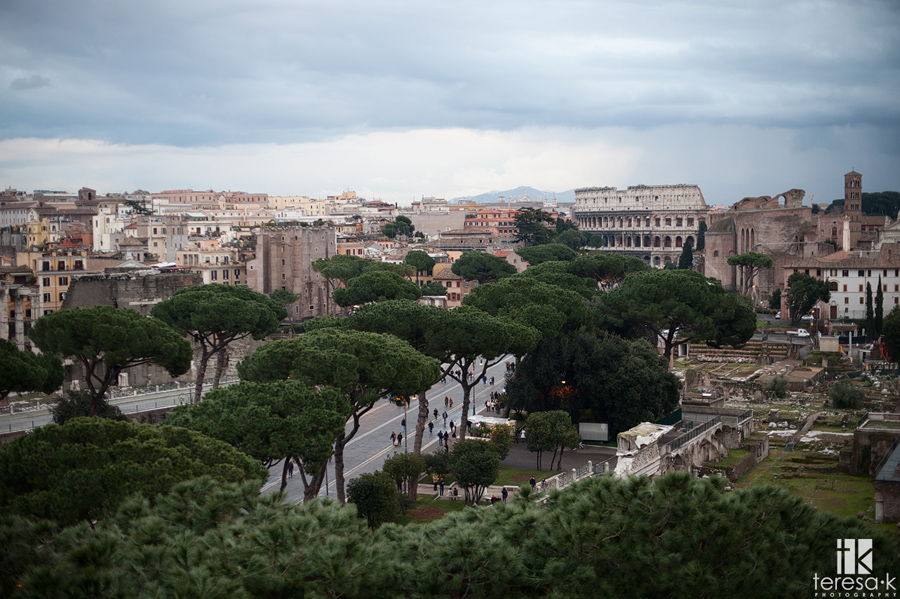museum view of Rome and the coliseum