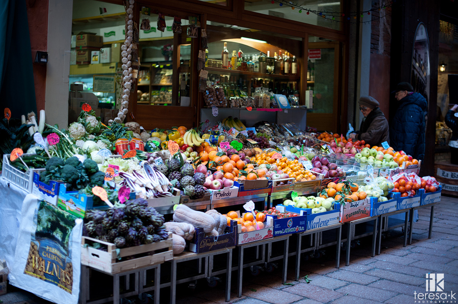 fresh fruits and vegetable stand in bologna Italy