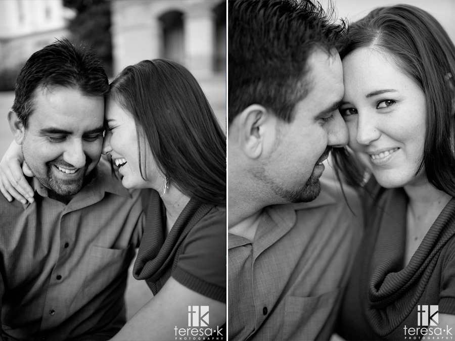 black and white engagement in downtown Sacramento
