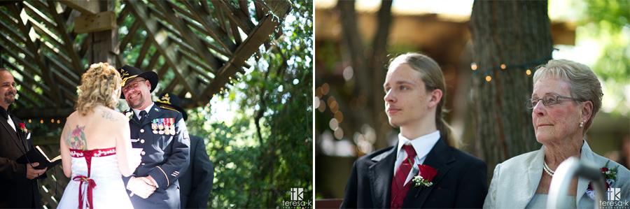 ceremony at the oak Leigh wedding gardens in Sacramento