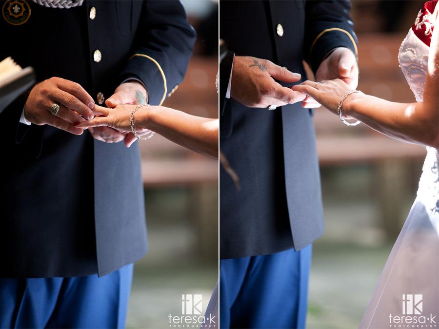 close up of ring exchange at wedding
